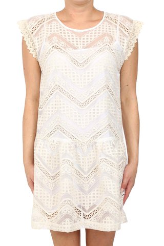 GWEN DROP WAIST DRESS - CREAM