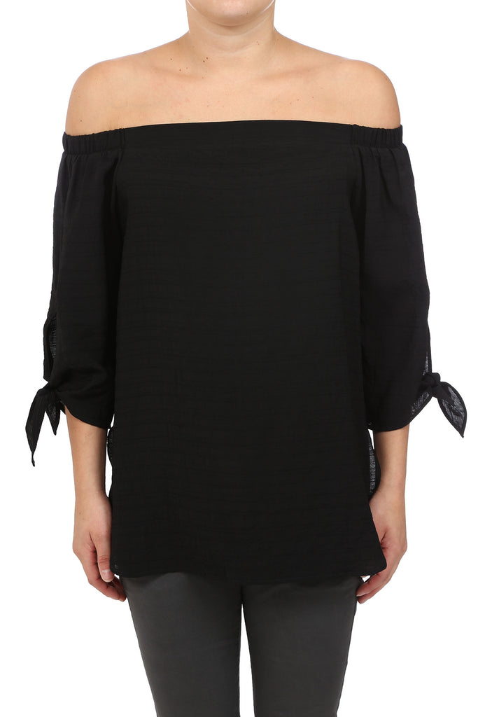 FALL BASIC OFF SHOULDER TIE TOP - BLACK