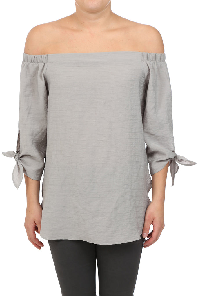 FALL BASIC OFF SHOULDER TIE TOP - GUN METAL