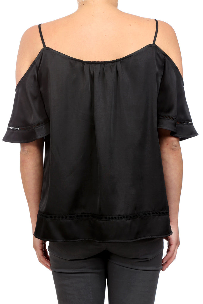HOLIDAY CLASSIC COLD SHOULDER TOP - BLACK