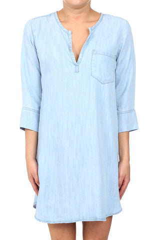 BAHIA TENCEL PLACKET POCKET TUNIC - LIGHT