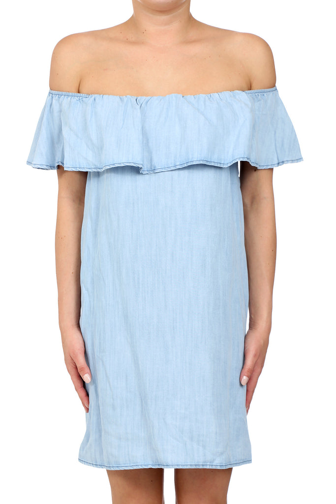 BAHIA TENCEL OFF SHOULDER RUFFLE DRESS - LIGHT