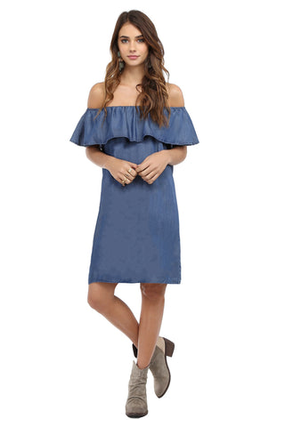 BAHIA TENCEL OFF SHOULDER RUFFLE DRESS - MEDIUM