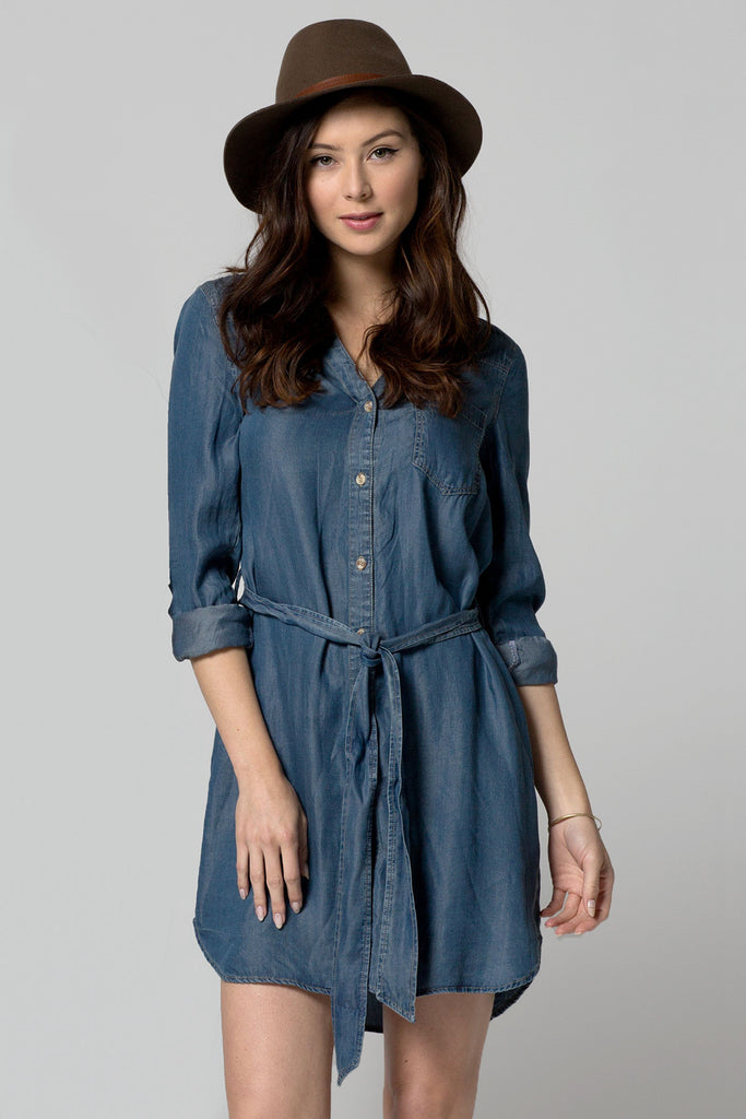 HERITAGE TENCEL BUTTON UP TIE SHIRT DRESS - DARK WASH