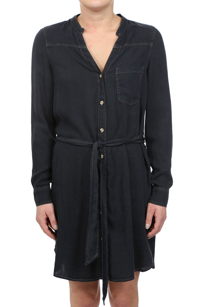 HERITAGE TENCEL BUTTON UP TIE SHIRT DRESS - INDIGO