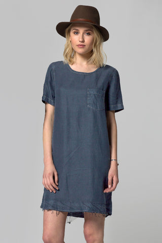 HERITAGE TENCEL RAW HEM POCKET DRESS - DARK WASH