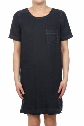 HERITAGE TENCEL RAW HEM POCKET DRESS - INDIGO