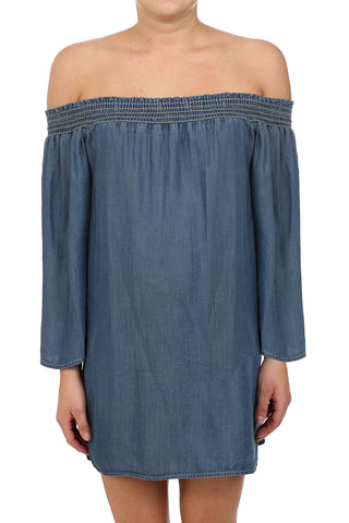 BAHIA TENCEL SMOCKED OFF SHOULDER DRESS - DARK WASH