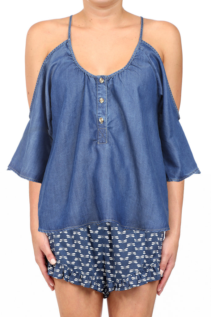 BAHIA TENCEL OPEN SHOULDER BUTTON TOP - MEDIUM