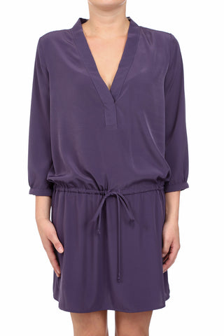 SOLID V-NECK PLACKET DRAWSTRING DRESS - PURPLE