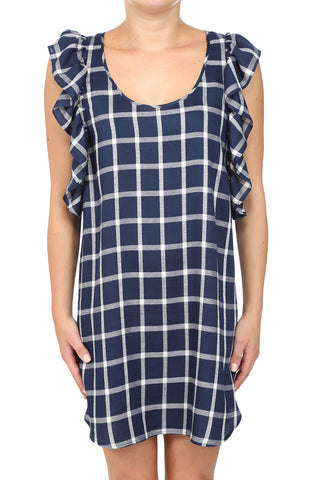 CHECKER RUFFLE DRESS - NAVY