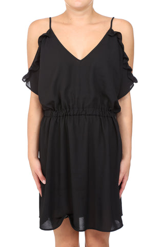 GUEDRA DANCER RUFFLE COLD SHOULDER DRESS - BLACK