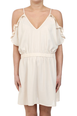 GUEDRA DANCER RUFFLE COLD SHOULDER DRESS - CREAM