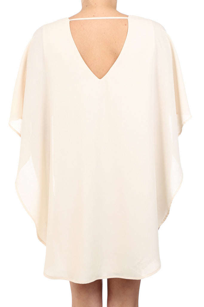 GUEDRA DANCER V-BACK CAPE DRESS - CREAM