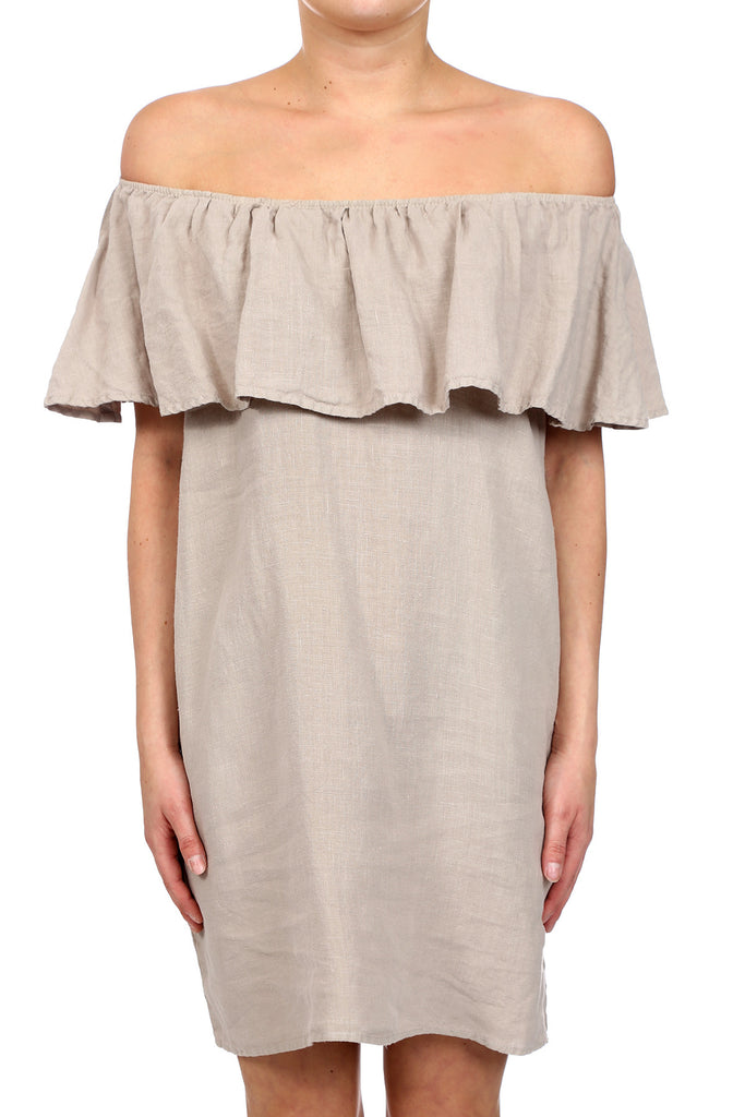 DESERT LINEN OFF SHOULDER RUFFLE DRESS - NATURAL