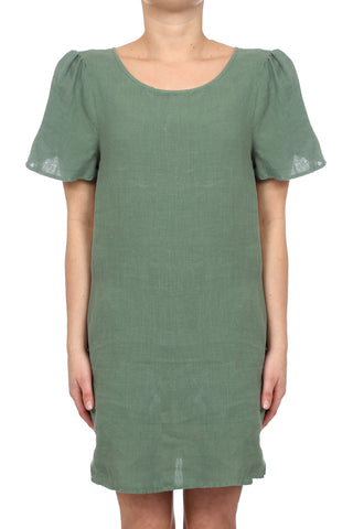 DESERT LINEN POCKET SHEATH DRESS - ARMY