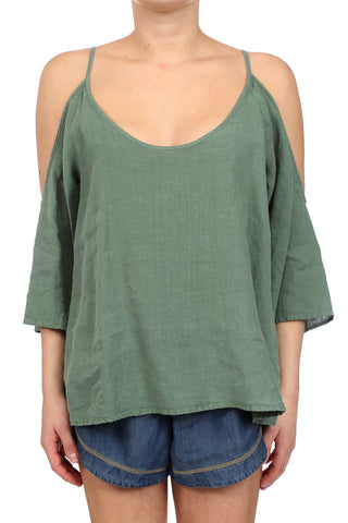 DESERT LINEN OPEN SHOULDER TOP - ARMY