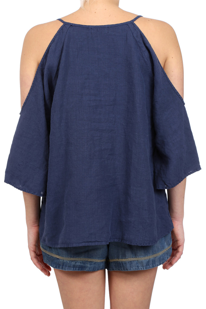 DESERT LINEN OPEN SHOULDER TOP - INDIGO