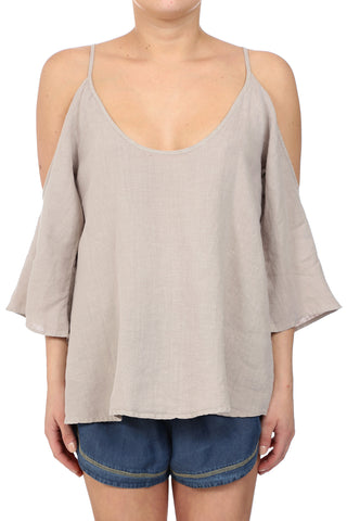 DESERT LINEN OPEN SHOULDER TOP - NATURAL