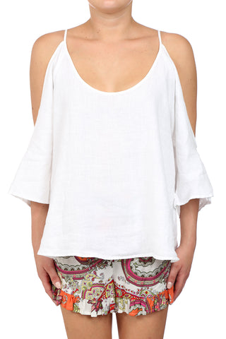 DESERT LINEN OPEN SHOULDER TOP - WHITE