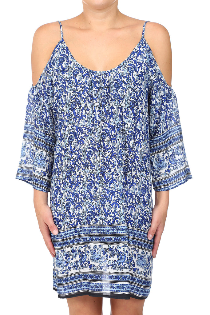 MEHNDI COLD SHOULDER DRESS - BLUE