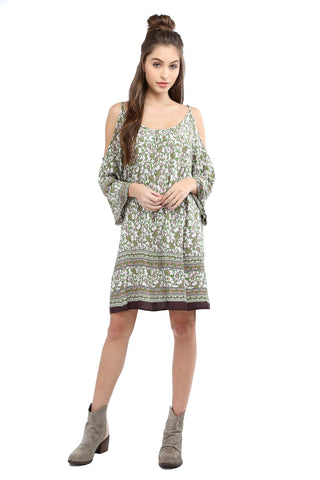Mehndi Cold Shoulder Dress - Olive