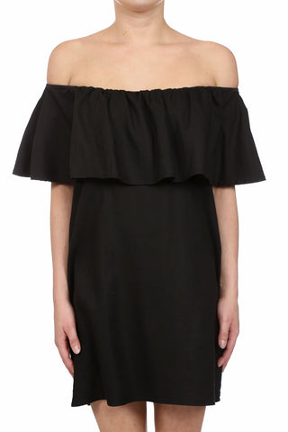 CROSSHATCH TENCEL OFF SHOULDER POCKET DRESS - BLACK