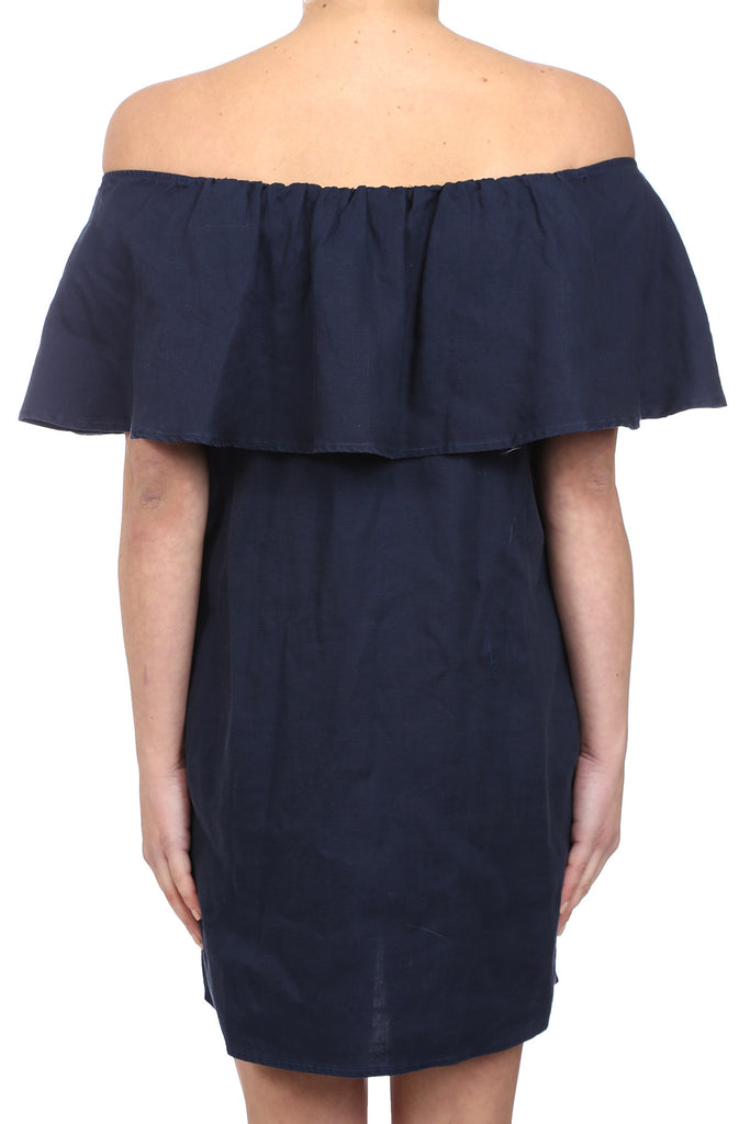 CROSSHATCH TENCEL OFF SHOULDER POCKET DRESS - NAVY