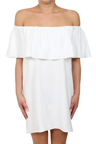CROSSHATCH TENCEL OFF SHOULDER POCKET DRESS - WHITE