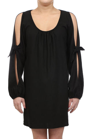 CROSSHATCH OPEN SHOULDER TIE DRESS - BLACK