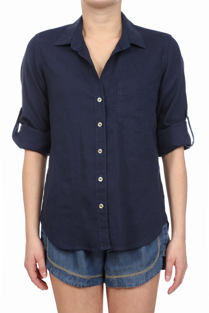 CROSSHATCH TENCEL BUTTON UP SHIRT - NAVY
