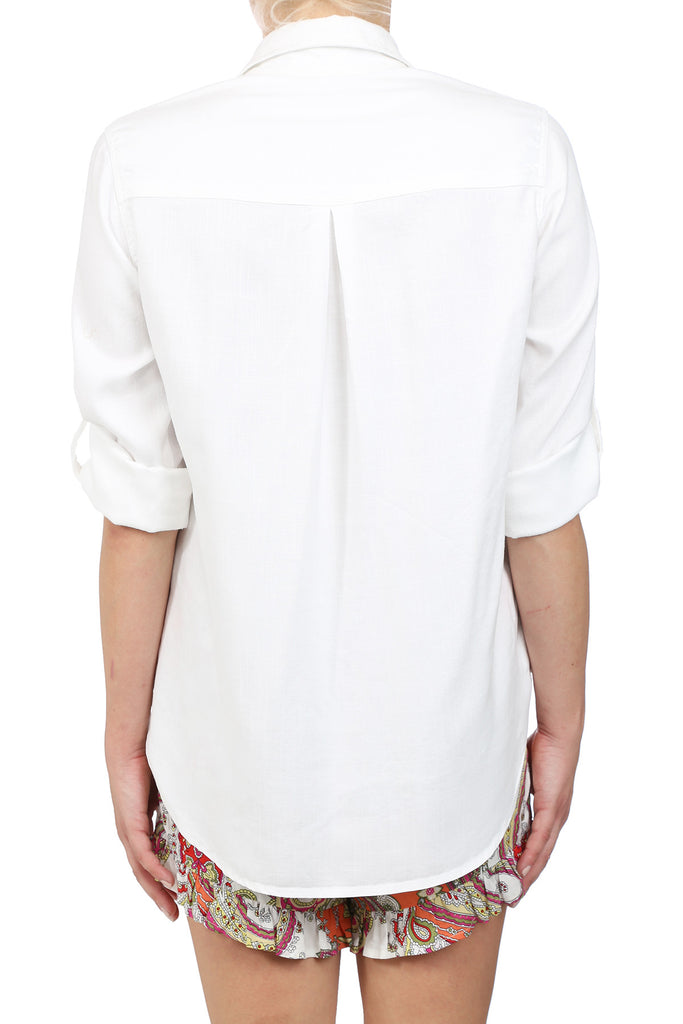 CROSSHATCH TENCEL BUTTON UP SHIRT - WHITE