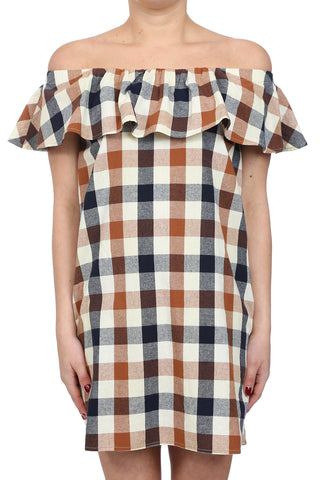 CHECKER PLAID OFF SHOULDER RUFFLE DRESS - AS IS