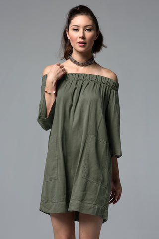 UTILITY OFF SHOULDER POCKET DRESS - ARMY