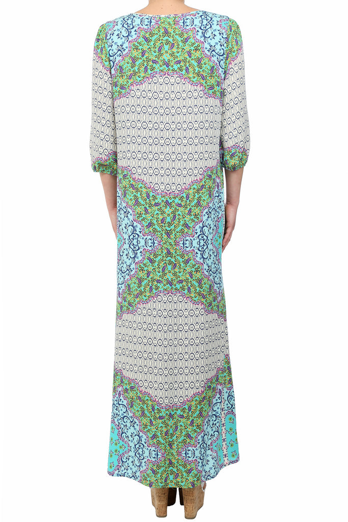 CHERRY BLOSSOM FRONT SLIT MAXI - GREEN