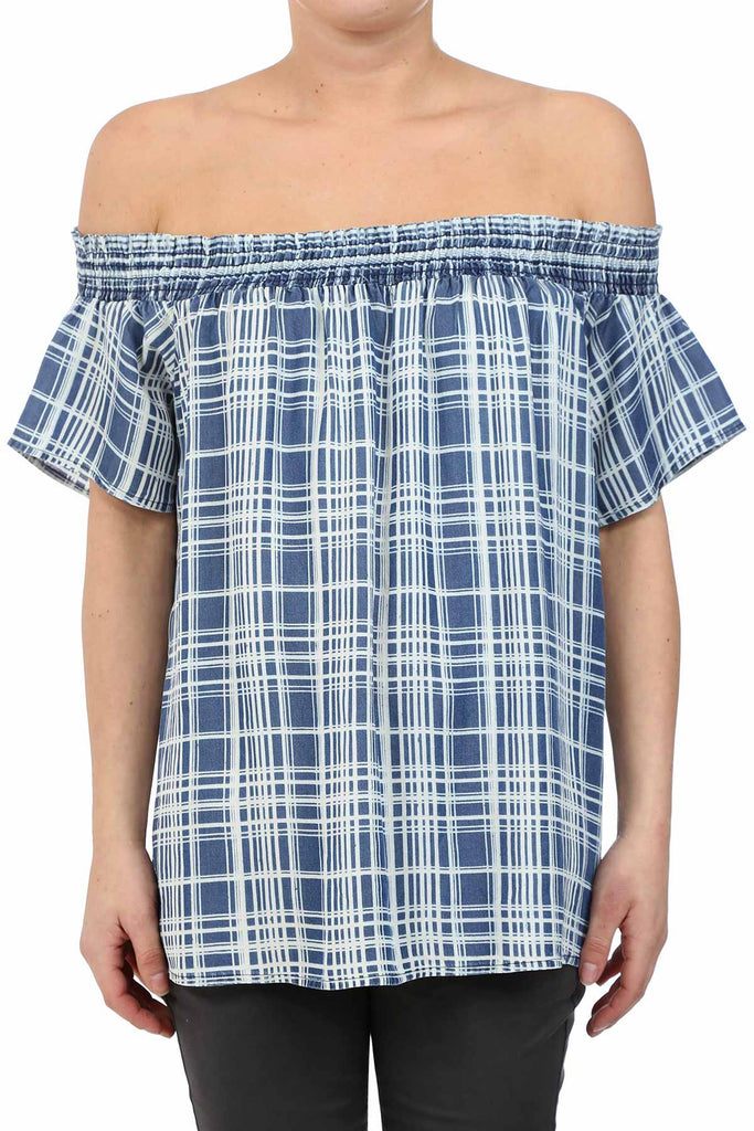 PLAID TENCEL OFF SHOULDER TOP - AS IS
