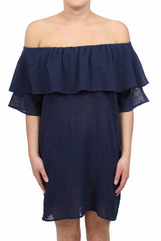 HAYSTACK OFF SHOULDER POCKET DRESS - INDIGO