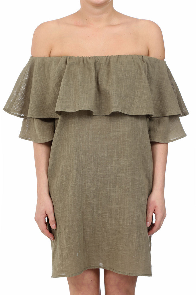 HAYSTACK OFF SHOULDER POCKET DRESS - MOSS