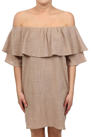 HAYSTACK OFF SHOULDER POCKET DRESS - NATURAL