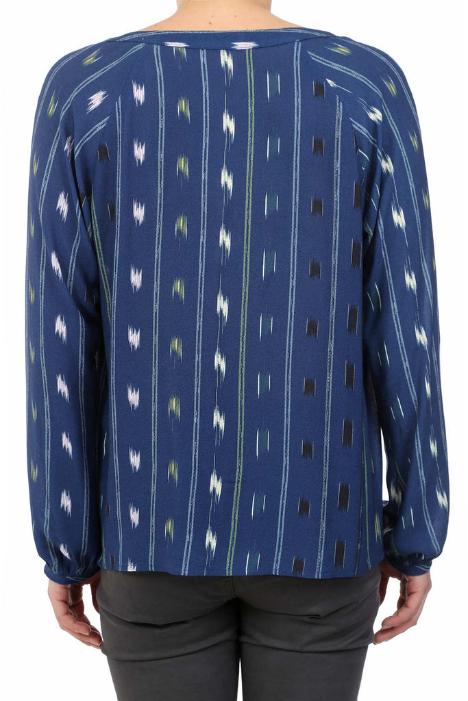 SIGNATURE WESTERN PLACKET TOP - NAVY