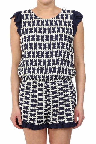 DIAMOND EMBROIDERED RUFFLE ROMPER - NAVY