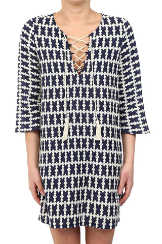 DIAMOND EMBROIDERY LACED TASSEL DRESS - NAVY