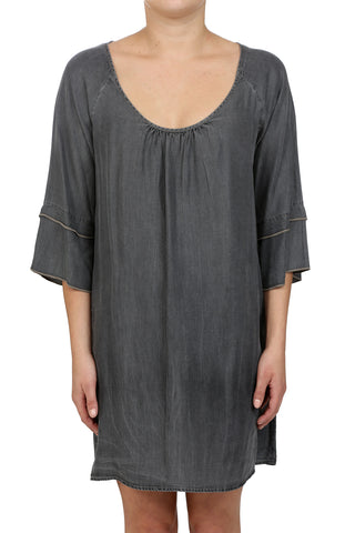 RURAL TENCEL SCOOP NECK DRESS - MEDIUM GREY