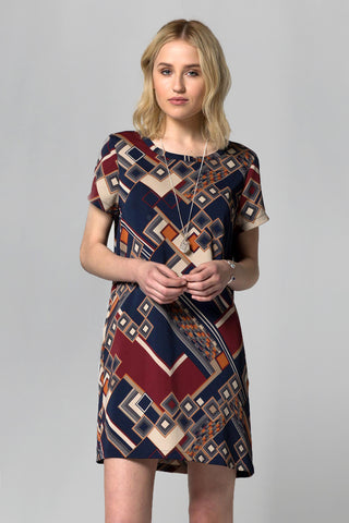 RETRO MOD POCKET DRESS - NAVY