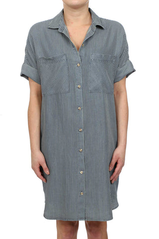MICRO STRIPE TENCEL BUTTON UP POCKET SHIRT DRESS - DARK WASH