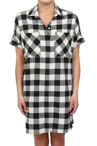 HARVEST PLAID BOYFRIEND POCKET SHIRT DRESS - BLACK