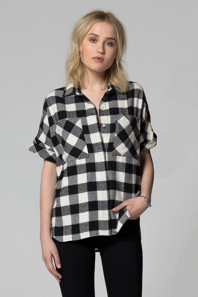 HARVEST PLAID BOYFRIEND SHIRT - BLACK
