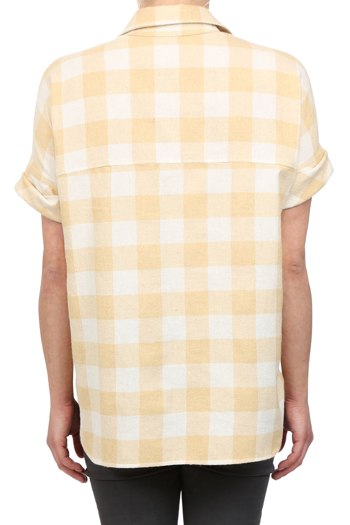 HARVEST PLAID BOYFRIEND SHIRT - YELLOW