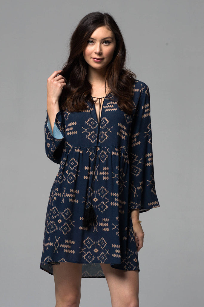 AZTEC BABYDOLL TASSLE DRESS - NAVY