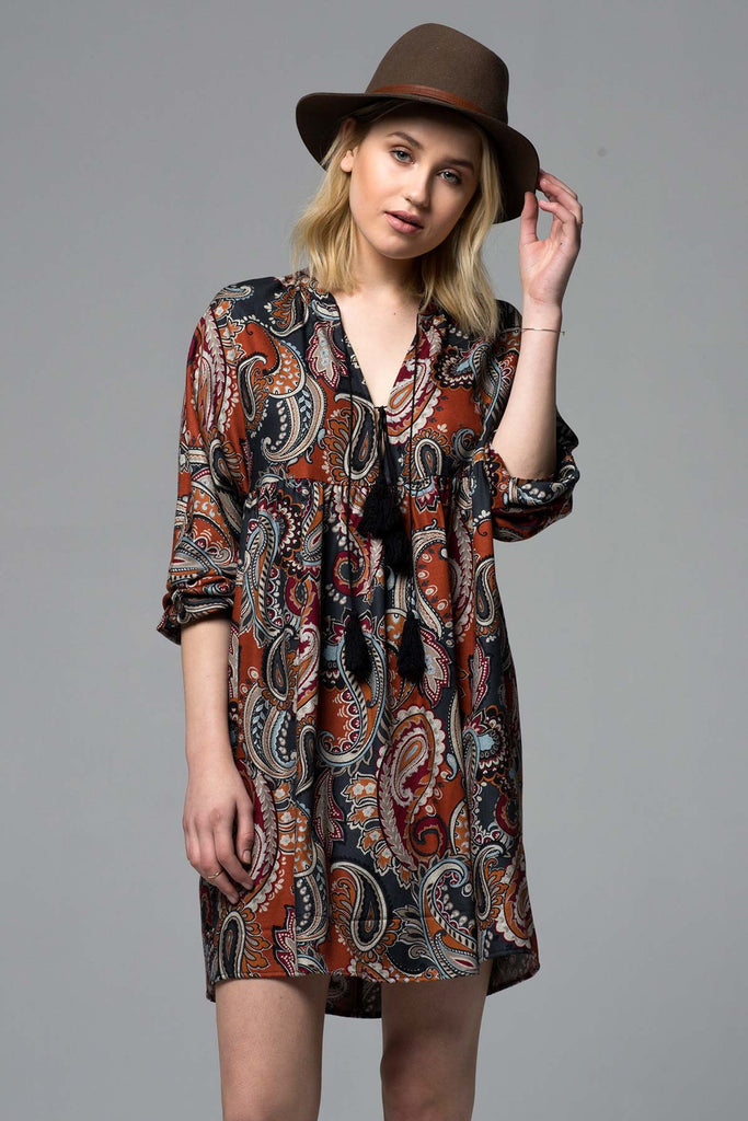AUTUMN LEAVES TASSLE PEASANT DRESS - AS IS